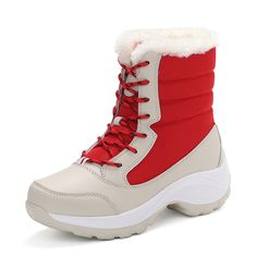 51.30$  Watch here - http://ali4x2.worldwells.pw/go.php?t=32748887126 - Winter Women's Snow Boots Snowflake Cotton Super Plush Warm Thickening Shoes Non-slip Lace-up High-top Ankle Boots Plus Size 51.30$