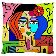 Picasso Style Multicoloured Woman No 2 Double Sided Art Pillow Cover