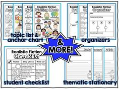 Realistic fiction pack with graphic organizers to help young writers!