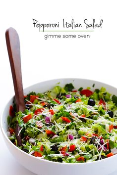 This Pepperoni Italian Chopped Salad recipe comes together in minutes, and makes a great side dish or entree.