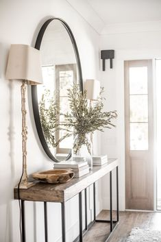 The Entry Table Ideas are small points we need to consider for room design speci. The Entry Table Ideas are small points we need to consider for room design specifically for big day Entryway Mirror, Rustic Entryway, Modern Entryway, Entryway Furniture, Hallway Ideas Entrance Narrow, Entryway Ideas, Entrance Ideas, Wall Mirror, Entrance Table Decor