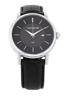 Michael Hill for Father's Day - Men's Watch in Stainless Steel & Black Leather, $259