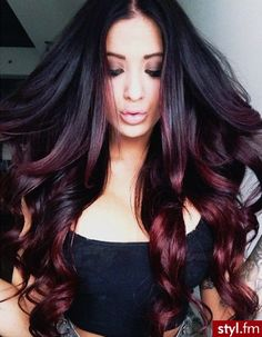 Ombre hair, beautiful hair, fall color, hair extensions studio 1514 call Dallas hair stylist to book Ombré Hair, Hair Dos, Curls Hair, Red Curls, Red Ombre Hair, Black Ombre, Black Plum, Red Plum, Blonde Ombre