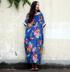 SERENELY Summer Linen Dress Women Dresses Vintage Flower with Butterfly Print Loose Long Robe Plus Size Maxi Dress S18