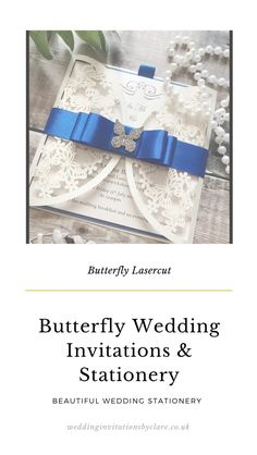 Butterfly Wedding Invitations, Bespoke Wedding Invitations, Wedding Stationery, Wedding Planner, Blue Color Schemes, Royal Blue Color, Ribbon Colors, Blue Wedding, Wedding Cards