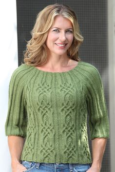 The gorgeous cables on the Lyonesse Pullover may take a little longer, but the results are spectacular. The neckline on this pullover is flattering, and you can customize it by making the sleeves longer if you prefer. Knitting Kits, Knitting Stitches, Baby Knitting, Knitting Patterns, Knitted Poncho, Knit Fashion, Crochet Yarn, Pulls, Knitwear