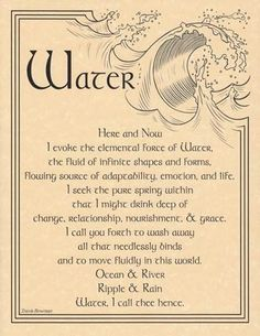 Water Evocation Parchment Poster or Book of Shadows Page | eBay