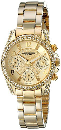Akribos XXIV Womens AK710YG Multifunction Diamond  Crystal GoldTone Bracelet Watch ** See this great product.Note:It is affiliate link to Amazon.