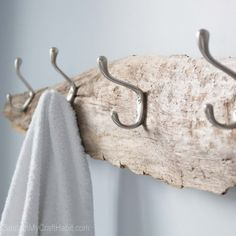 Turn a beautiful piece of driftwood found on the beach into a contemporary and useful towel rack in just a few simple steps.