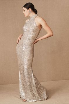 A chic, high neckline brings a modern edge to this sequined gown with a figure-hugging silhouette.Only available at BHLDN Different Bridesmaid Dresses, Ivory Bridesmaid Dresses, Affordable Bridesmaid Dresses, Beautiful Bridesmaid Dresses, Bridal Party Dresses, Bridal Gowns, Wedding Dresses, 20s Wedding, Sparkly Dresses
