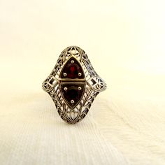 Art Deco Garnet Red Ring, Sterling Silver Filigree, Size 6 Ring, Art Deco Jewelry  Beautiful sterlin