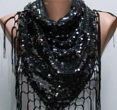 Black sequin scarf