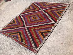 RUSTIC area rug 96 x 75 diamond design Kilim rug by PocoVintage