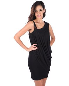 Go for glam in the Starla Draped Dress by Linx. This gorgeous design showcases a thick sleeve on the left shoulder and four thin straps on the right shoulder. Black in colour, it is short in length, while the front boasts Grecian-inspired draping. Perfect for a night of dancing, pair it with strappy sandals and get ready to paint the town red!