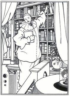 "Pierrô na biblioteca, 1896 Desenho para a série ""Pierrot's Library"" [ A biblioteca de Pierrô] Aubrey Beardsley (Inglaterra, 1872-1898)"