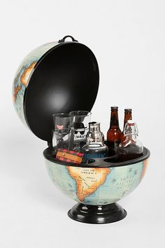 Globe Bar! Iron globe that opens up to reveal a handy little storage unit! Ideal for stashing all your pints, bottles and flasks for safekeeping.