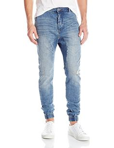 ec4b14a2d75a8f Men's Light Blue Washed Ripped Jean Joggers | MEN'S BOTTOMS in 2019 ...