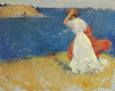 Frank Weston Benson (1862-1951)  Girl on the Headland  oil on canvas  16 x 20 in. (40.6 x 50.8 cm.)  Painted circa 1906.