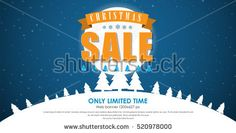 horizontal web banner design for the Christmas sales. Template text on a background of the night sky with the snowy hills and trees. Vector illustration