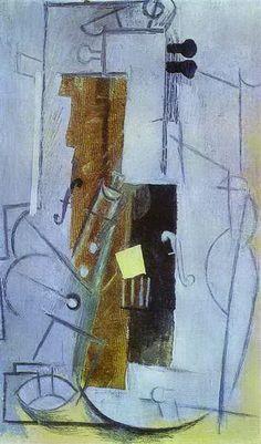"""Pablo Picasso - """"Clarinette et Violon"""". 1913"""