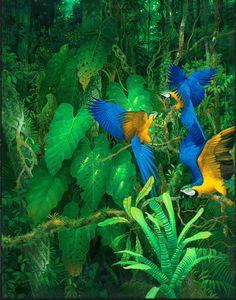 Rainforest by Debernadi Jazz Cat, Jungle Art, Tropical Art, Visionary Art, Chinoiserie, Beautiful Birds, Original Paintings, Art Paintings, Artwork