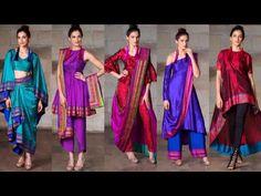 Old saree to new designer dress ideas/saree reuse ideas/best dress from old saree/saree recycling - Lehenga Designs, Kaftan Designs, Kurti Designs Party Wear, Blouse Designs, New Designer Dresses, Indian Designer Outfits, Indian Outfits, Saree Gown, Sari Dress