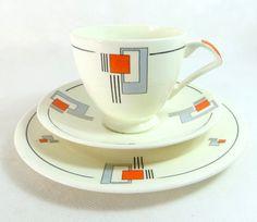 Art Deco Trio, Wedgwood & Co Abstract Geometric Orange-Red Black Grey Cup, Saucer, Teaplate Trio Set 1936