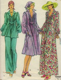 Vintage Vogue 9239 Pintucked Tunic or Dress & Pants Scarf Pattern sz 12 Uncut #Vogue