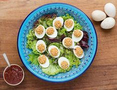 For a summer salad outdoors or as a part of a platter, Ballymaloe Original Relish and Ballymaloe Mayo will give your eggs a little twist. Perfect as a starter or a snack with some brown soda bread.  #salad #summer #eggs #relish #mayo #mayonnaise #bread #sodabread