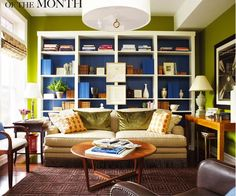 Ways to dress up a Billy Bookcase, plus a layout (couch back towards bookshelves) to remember.loving the bookcase. Painting Bookcase, Painted Bookshelves, Ikea Billy Bookcase, Built In Bookcase, Painting Fireplace, White Bookshelves, Painted Shelving, Large Bookcase, My Living Room