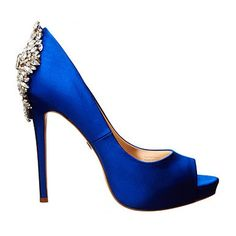 Sapphire Blue Badgley Mischka Kiara Evening Shoes ($245) ❤ liked on Polyvore featuring shoes, pumps, heels, peep toe pumps, evening shoes, blue pumps, platform pumps and blue shoes