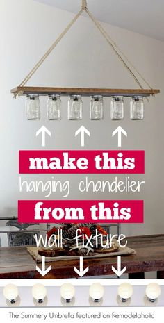 DIY-rustic-mason-jar-and-wood-hanging-chandelier-pendant-light-The-Summery-Umbre. - Before After DIY Diy Luminaire, Diy Lampe, Hanging Chandelier, Hanging Pendants, Chandelier Makeover, Chandeliers, Chandelier Ideas, Chandelier Lighting, Light Fixture Makeover