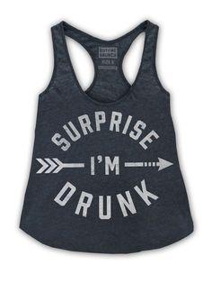 "Women's ""Surprise I'm Drunk"" Tank by Buy Me Brunch (Dark Heather) - InkedShop"