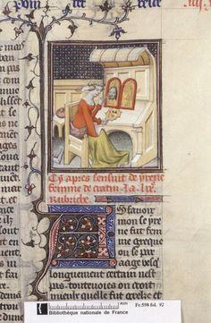 ConsulterElementNum 502×768 pixels. Medieval female artist. Painting. Art studio.