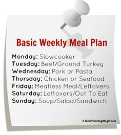 Break the Dinner Time Rut With A Basic Weekly Meal Plan! Use these ideas as a guide to help you try new things and keep up the variety in your family's meals. | From MealPlanningMagic.com