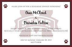 #MSU #WeddingInvitations #RehearsalDinner