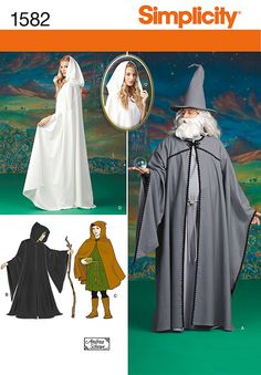 Simplicity 1582 I did the short hooded cape C. Maybe we could simplify and make it shorter/lighter? I also like the idea of wizard sleeves