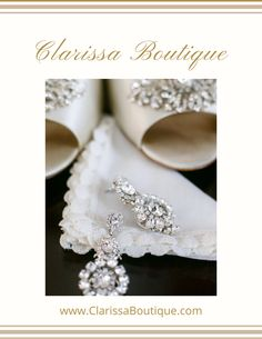 Statement Bridal Earrings at their best. A bridal accessory collection to swoon over.  These Swarovski rhinestone earrings make a statement and what better to pair them with than these beautiful shoes. Contact us for details on this custom made heirloom hankie. ... #clarissaboutiquepittsburgh #clarissaboutique #bridalboutique #burghbrides #pittsburghpa #bride #bridalstyle  #weddingstyle #bridaljewelry #swarovskicrystal #weddingearrings #weddingjewelry  #bridalearrings #swarovskiearrings