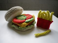 #crochet #food #crazy #cute. Hamburger and french fries.