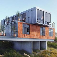 Storage Container Homes, Building A Container Home, Container Van, Sea Container Homes, Cargo Container, Home Design Plans, Plan Design, Design Ideas, Design Design