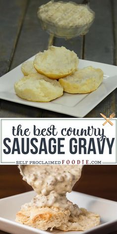 The absolute best biscuits and gravy come from an easy Sausage Gravy made from scratch with ground pork and seasonings. It is the best comfort food when smothered over homemade buttermilk biscuits! Homemade Gravy For Biscuits, Homemade Sausage Gravy, Sausage Gravy And Biscuits, The Best Sausage Gravy Recipe, Biscuit And Gravy, Southern Biscuits And Gravy, Breakfast Dishes, Breakfast Recipes, Jars