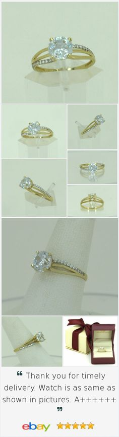 @gdionline Solid 10K Yellow Gold Ladies Wedding/Promise/Bridal/Engagement Solitaire Ring