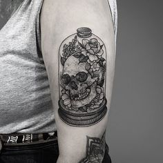 Skull in a bell jar with flowers. Thanks again Maisie!  #tattoo #etching #fineline #blackwork #dotwork #blackandgrey #nature #darkartists #blackworkerssubmission #occult #skull #humanskull #flowers  #woodcut #medieval #antique #curiosities