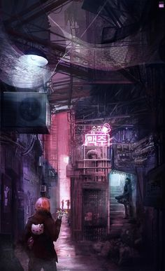 Fragments of a Hologram Dystopia Cyberpunk City, Cyberpunk Aesthetic, Arte Cyberpunk, Cyberpunk 2077, Fantasy Landscape, Fantasy Art, Science Fiction, Neon Noir, Futuristic Art