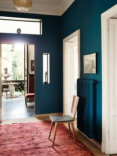 bold teal walls with tall ceilings. Room Colors, House Colors, Colours, Painted Radiator, Sweet Home, Interior And Exterior, Interior Design, Teal Walls, Modern Bedroom Design