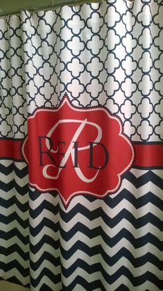 Personalized Shower Curtain Lime Chevron Navy White By Redbeauty 7800