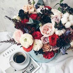 Картинка с тегом «flowers, coffee, and rose»