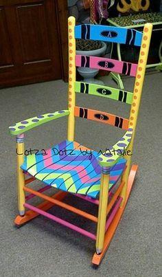 want a share chair in my classroom Teacher Rocking Chairs, Teacher Chairs, Painted Rocking Chairs, Hand Painted Chairs, Painted Tables, Painted Stools, Wooden Chairs, Painted Wood, Classroom Design