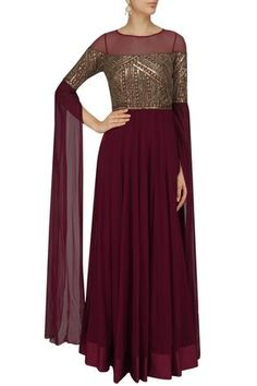 Sanya Gulati presents Deep maroon sequins embellished cape sleeves gown available only at Pernia's Pop Up Shop. Indian Gowns Dresses, Indian Fashion Dresses, Dress Indian Style, Indian Designer Outfits, Pakistani Dresses, Lehenga Designs, Kurti Designs Party Wear, Sleeves Designs For Dresses, Gowns With Sleeves