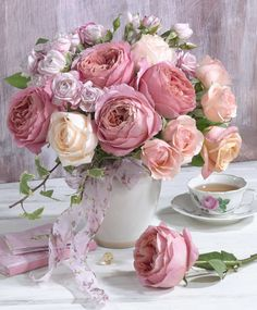 Pink and Peach Bouquet Of Roses